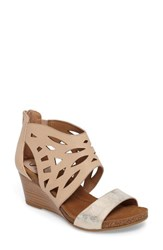 Sofft Women's Mystic Perforated Wedge Sandal Blush Ivory Leather
