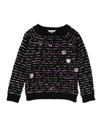 Little Marc Jacobs Long Sleeve Striped Sweater W Large Sequins Black