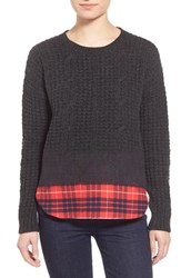 Women's Madewell 'Wintermix' Cable Knit Sweater Charcoal