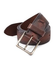 Saks Fifth Avenue Collection Hexagon Imprint Leather Belt Brown