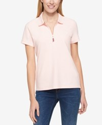 Tommy Hilfiger Zip Up Polo Top Only At Macy's Ballerina Pink