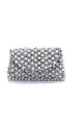 Santi Imitation Pearl Envelope Clutch Ivory