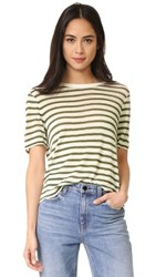 Alexander Wang T By Stripe Cropped Tee Cream And Military