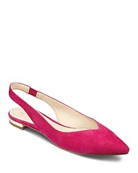 Marc Fisher Ltd. Silva Suede Pointed Toe Slingback Flats Pink