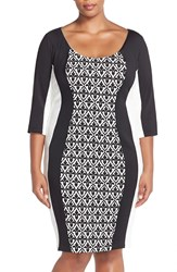Sangria Print Block Scuba Knit Sheath Dress Plus Size Black Ivory