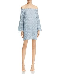 Aqua Star Embroidered Off The Shoulder Dress 100 Exclusive Blue White