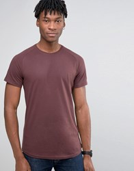 Selected Homme Longline Raglan T Shirt With Curved Hem Fudge Red