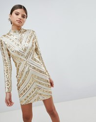 Girl In Mind Sequin Long Sleeve Mini Dress Silver