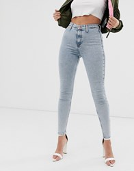 River Island Kaia Skinny Jeans In Acid Wash Blue