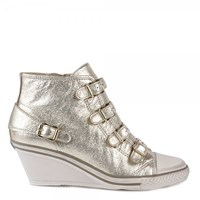 Ash Genial Mid Wedge Leather Trainers Platine