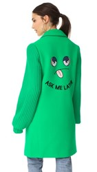 Mira Mikati Ask Me Later Embroidered Knit Sleeve Coat Green