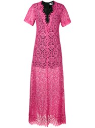 Msgm Lace Sheer Long Dress Women Cotton Polyamide Viscose 38 Pink Purple