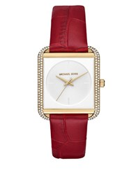 Miscellaneous Lake Crystal Pave Square Leather Strap Watch Red