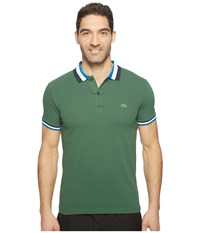 Lacoste Short Sleeve Semi Fancy Slim W Textured Stripe Collar Slim Green Sapphire Blue Men's Clothing