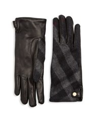 Burberry Leather And Check Cashmere Gloves Black