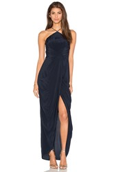 Zimmermann Silk Tuck Long Dress Navy