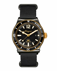 1898 Rotating Bezel Watch Black Gold Salvatore Ferragamo