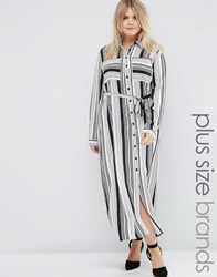 Praslin Plus Maxi Shirt Dress In Stripe Black White