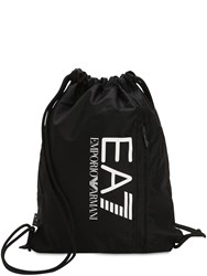Emporio Armani Train Prime Nylon Drawstring Backpack Black