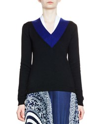 Carven Varsity Colorblock Pullover Sweater Marine