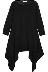 Max Mara Draped Silk And Cashmere Blend Top Black