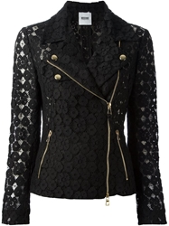 Moschino Cheap And Chic Floral Lace Biker Jacket Black
