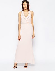 Elise Ryan Frill Maxi Dress With Straps Softblush