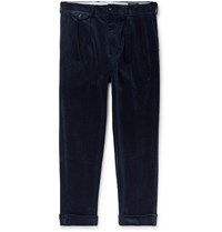 Polo Ralph Lauren Navy Tapered Pleated Cotton Blend Corduroy Trousers Blue