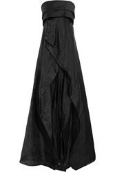 Donna Karan Wool And Silk Blend Organza Gown Black