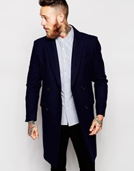 Asos Double Breasted Overcoat In Navy