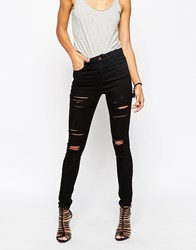 Asos Ridley High Waist Skinny Jeans In Black With Shredded Rips Black
