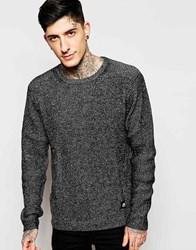 Cheap Monday Crew Jumper Curve Knit Black Melange Black