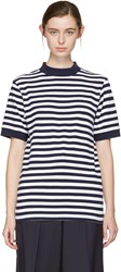 Blue Blue Japan Indigo And White Striped Mock Neck T Shirt