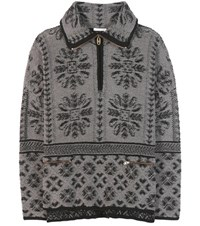 Chloe Printed Wool And Cashmere Sweater Grey