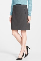 Halogen Zip Pocket A Line Skirt Petite Gray