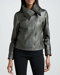 Bagatelle Hand Rubbed Wide Collar Leather Jacket Large 10 12