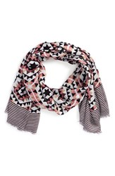 Women's Sole Society 'Mixed Tile' Geo Print Scarf Pink Pink Multi
