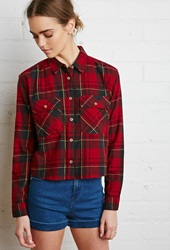Forever 21 Boxy Plaid Flannel Shirt Red Hunter Green