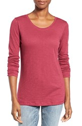 Caslonr Women's Caslon Long Sleeve Slub Knit Tee Burgundy Beauty