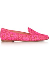 Paul Andrew Suffix Neon Embroidered Canvas Loafers Pink