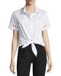 Jonathan Simkhai Embroidered Tie Front Cropped Shirt White Navy