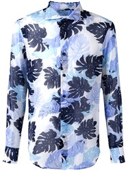 Ermanno Scervino Palm Print Shirt Blue