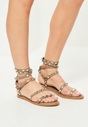 Missguided Nude Studded Multi Strap Gladiator Sandals
