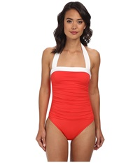 Lauren Ralph Lauren Bel Aire Solids Shirred Bandeau Mio Slimming Fit One Piece Bright Coral Women's Swimsuits One Piece Gray