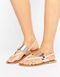 Warehouse Toe Post Sandal Nude Silver Multi