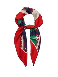 Gucci Chain Print Silk Twill Scarf Red Multi