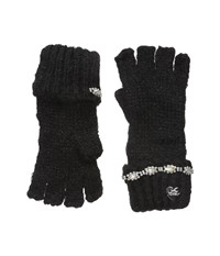 Betsey Johnson On The Rocks Half Finger Gloves Black Dress Gloves