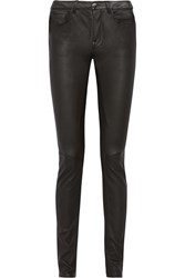 Rick Owens Stretch Leather And Cotton Blend Skinny Pants Black