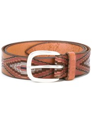 Orciani Mexican Printed Belt Men Leather 90 Brown