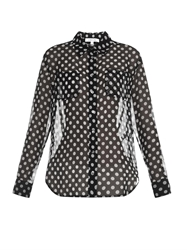 Elizabeth And James Emmanuelle Polka Dot Silk Chiffon Shirt